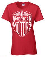 American Motori T-Shirt Donna Motociclista Motocicletta Moto Rétro Moto