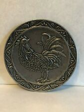 Carson Silver Metal Rooster Round Plate / Tray