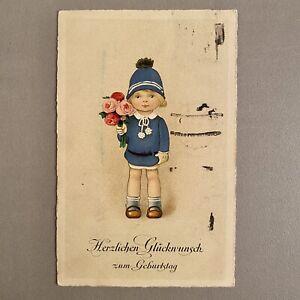 Alte Postkarte von Mari u. Betty an Melitta 1925 AK Rosen-Kind Kragen-Anzug Blau
