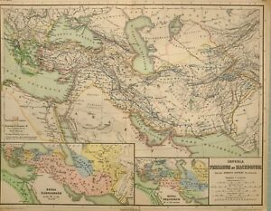 1892 Landkarte Persien Mazedonien Rumänien Armenien Assyria Alexander Gebiete