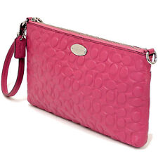 NWT Coach Signature Embossed Pebble Leather Large Wristlet 52643 SV/Sunset Red