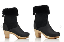 Brand New in Box NO. 6 Shearling & Leather Mid-Calf Clog Boots size 38