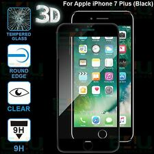 2 x Black 4D Curved Tempered Glass Screen Protector For Apple iPhone 7 Plus