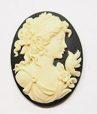 4 of 40x30 mm Cream over Black Victorian Muse Grecian Woman W/Bird Cameos, Nice