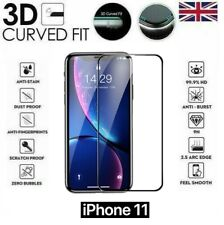 """For iPhone 11 (6.1"""") 3D Curved Full Cover Screen Protector Tempered Glass Black"""