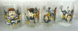 Set of (4) 1982 Pittsburgh Steelers McDonalds All Time Greatest Glass Set MINT