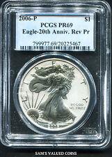 2006-P $1 Amer Silver Eagle Reverse Proof PCGS PR69 Eagle - 20th Anniv. Rev Pr