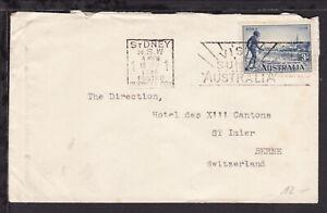 AUSTRALIA 1934 COVER bearing VICTORIA CENTENARY 3d to BERNE SWITZERLAND (L768)