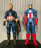"MARVEL Set of 2 Captain America 2017 Hasbro 12"" Action Figures - Includes Shield"