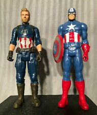 """Marvel Set of 2 Captain America 2017 Hasbro 12"""" Action Figures - Includes Shield"""
