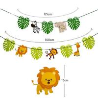 Kids Animal Banner Jungle Safari Theme Child Birthday Party Bunting Decorations