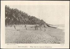 INDE INDIA IMAGE PLAGE REGION PONDICHERY 1942 OLD PRINT