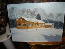 "Robert Wesson-listed Rockport Artist""Log Home 1960"" winter scene;log ranch home"