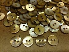"""100 VERY RARE BROWN WASHIBODO SHELL BUTTONS 13mm 1/2"""" 2hole"""
