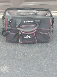 Husky Heavy Duty Canvas Tool Bag w/Strap Multiple Zippered Pockets Tool Holders