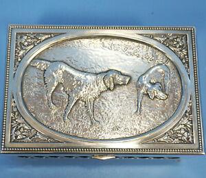 Antique Art Nouveau Silver Hunt Humidor BOX Dogs Relief Floral Frantisek Bibus