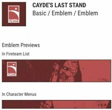 Destiny 2 Cayde's Last Stand Emblem Code - PS4, XBOX, PC - SAME DAY DELIVERY!