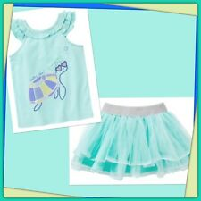 NWT 2T Gymboree TIDE POOL 2pc Turtle TANK TOP & Floral SKIRT. . AQUA  RARE!