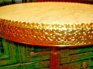"""ROUND NATURAL MARBLE TABLE TOP 15"""" WITH GOLD FILIGREE RIM, HEAVY"""