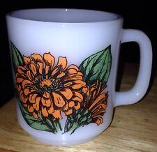 Vintage Glasbake Orange Zinnia Flower Absent Friends Coffee Mug Cup