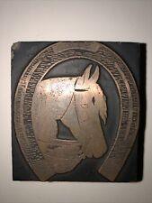 New Listingvintage Horse Head Horseshoe Copper Stamping Wood Print Block Letterpress