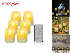 Remote Control LED Flickering Flame Lamp Battery Wax Candle Tea Lights w/ Timer