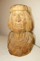 LARGE vintage hand carved Folk Art figural man wooden sculpture statue bust