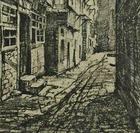 Alfred JENSEN (1859-1935) antike Litho c 1925: HAMBURG, HOF a d MOHLENHOFSTRASSE