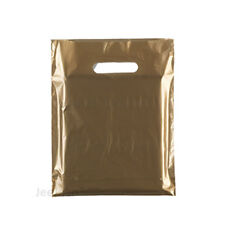 """100 Gold Plastic Carrier Bags 10""""x12""""+4"""" Gift  Party Shop Carry Patch Handles"""