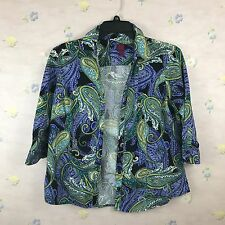 212 Collections Women's Multi Color Paisley Button Down Shirt Size Large