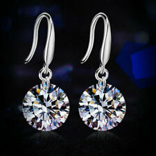 925 Sterling Silver CZ Dangle Drop Earrings Sapphire Earring Studs Hoop Women