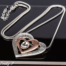 Long Statement Necklace Silver Rose Gold Tone Heart Pendant Necklace Lagenlook