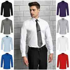 Mens Fitted Long Sleeve Shirt Business Work Smart Formal Casual Dress Shirt