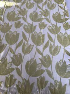 Curtain Sample Rem Fabric Blind Cushion Craft 70x90cm Cream/Soft Lime Tulip 534