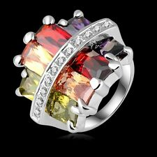 Multi Coloured White Gold Plated & Cubic Zirconia Big Statement Cocktail Ring