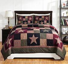 Star Quilt Set Queen Plum Creek Black Plaid Patchwork Primitive Bedspread Shams