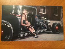 Tin Sign Vintage Rat Rod With Pin Up Model 3