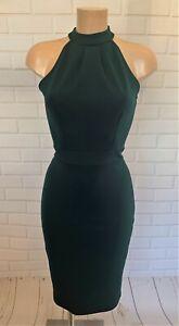 Green Halter Neck Tie Neck Wiggle Bodycon Knee Dress Size 10 - 20