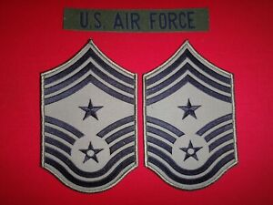 US AIR FORCE Pocket Tape + Pair Of USAF CHIEF MASTER SERGEANT Large Chevrons
