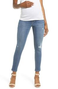 New Women's Maternity 1822 DENIM Distressed Ankle Skinny Jeans NWT Size 25 = 0