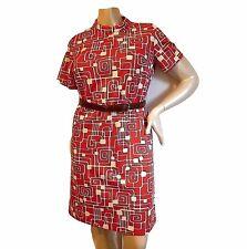 Vintage 60s Shift Dress Mod Bold Pop Art Psychedelic Hipster GoGo Print Jackie-O