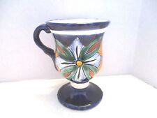 Signed Navy Blue/White Flower Pedestal Goblet Style Cup/Mug - Mexico
