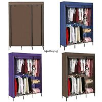 "Fabric Clothes Wardrobe Double Hanging Rod Closet Storage Organizer 68"" NEW"