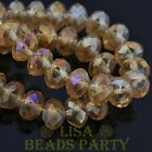 New 10pcs 12X8mm Crystal Glass Rondelle Faceted Loose Big Beads Champagne AB