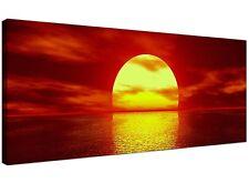 Red Large Canvas Art of Sunset Seascape - 120cm x 50cm - 1001