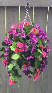 New Pink/purple Trailing Artifical Flower Hanging Basket Ready To Hang Garden