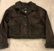 "Women's Climate Zone Brown Leather Bomber Aviator Jacket w/Fur Lined Collar ""M"""