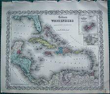 1855 LARGE ANTIQUE MAP-COLTON- WEST INDIES