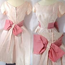1950's Vtg EVENING GOWN~Pale Pink SHEER CRINOLINE A-LINE DRESS w/BOW 36B 25W