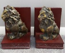 Lions Book ends red & gold beautifully weathered gives antique look heavy